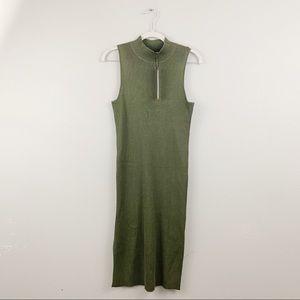 Olive & Oak Olive Green Ribbed Mock Neck Bodycon